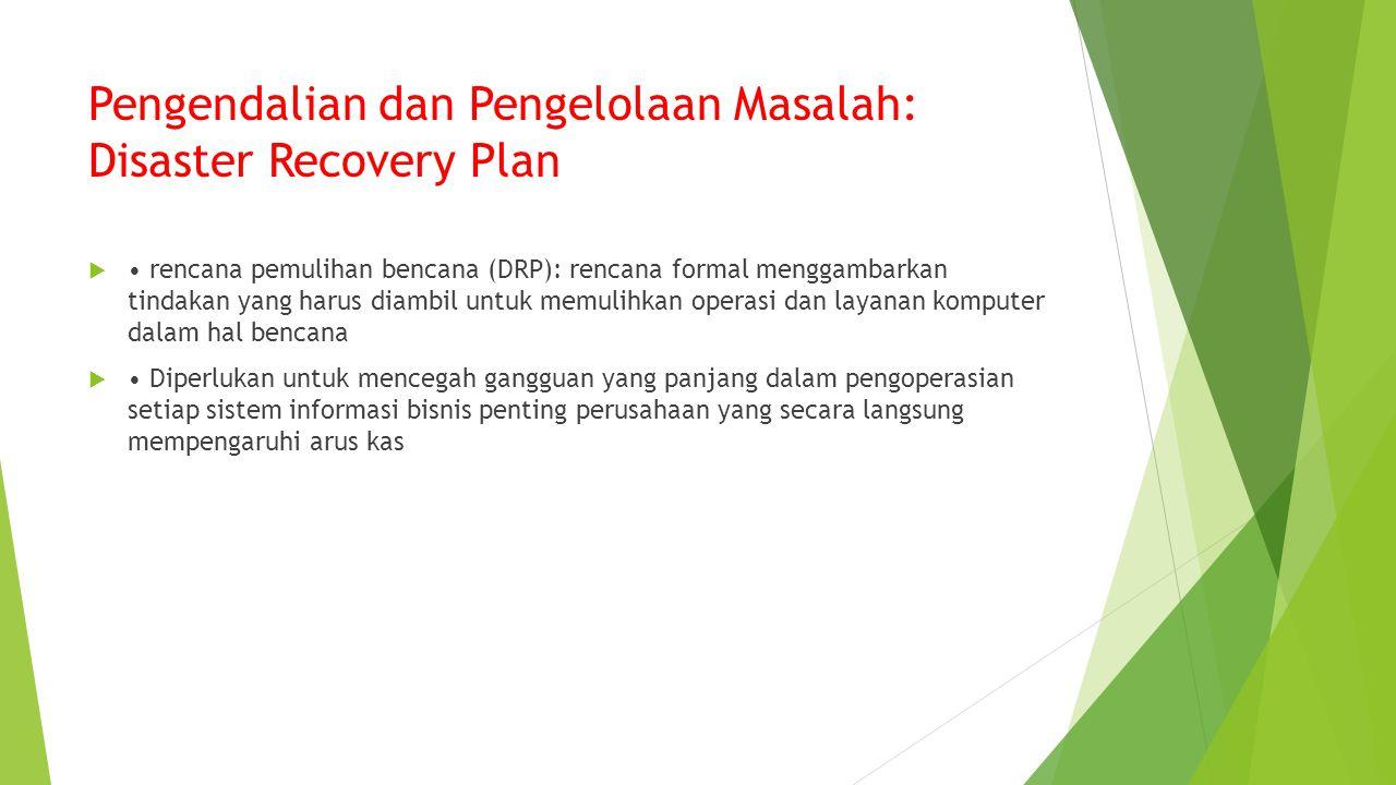 Pengendalian dan Pengelolaan Masalah: Disaster Recovery Plan