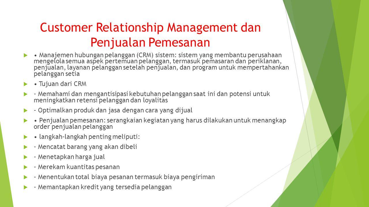 Customer Relationship Management dan Penjualan Pemesanan