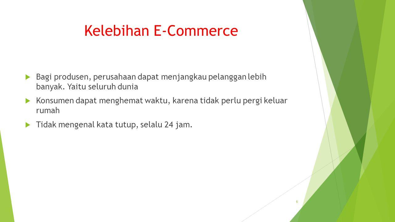Kelebihan E-Commerce Bagi produsen, perusahaan dapat menjangkau pelanggan lebih banyak. Yaitu seluruh dunia.