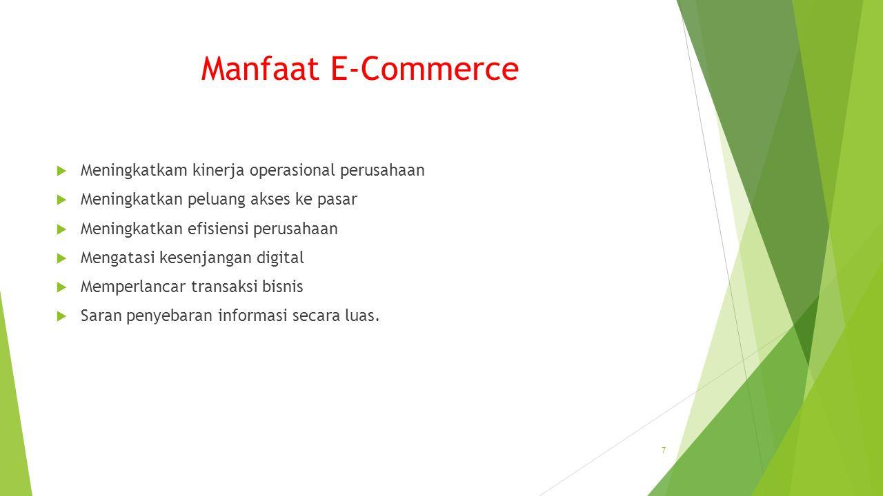 Manfaat E-Commerce Meningkatkam kinerja operasional perusahaan