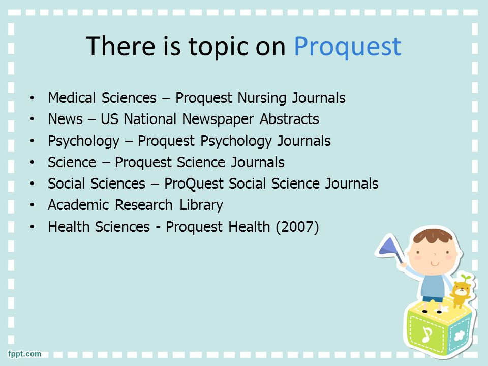 There is topic on Proquest