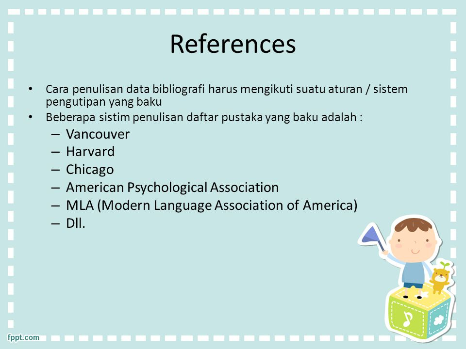 References Vancouver Harvard Chicago