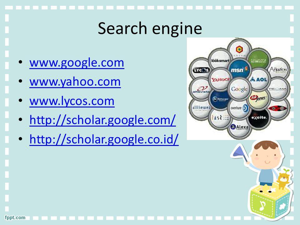 Search engine www.google.com www.yahoo.com www.lycos.com
