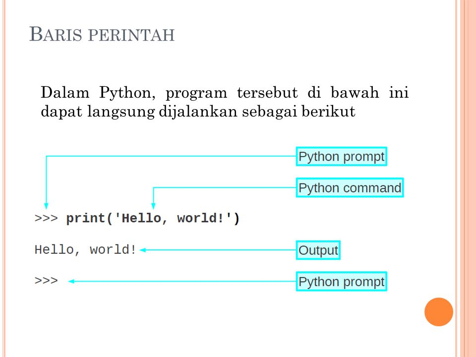Baris perintah Dalam Python, program tersebut di bawah ini dapat langsung dijalankan sebagai berikut.