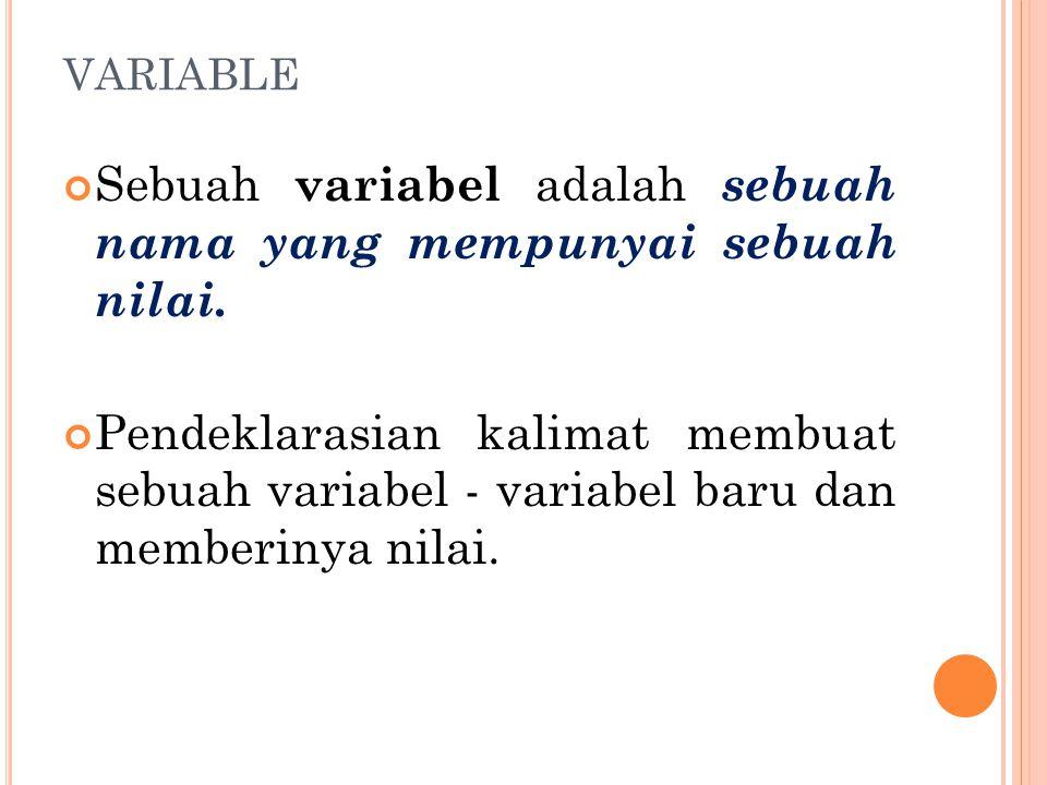 Sebuah variabel adalah sebuah nama yang mempunyai sebuah nilai.