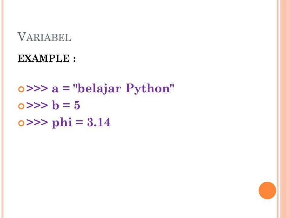>>> a = belajar Python >>> b = 5