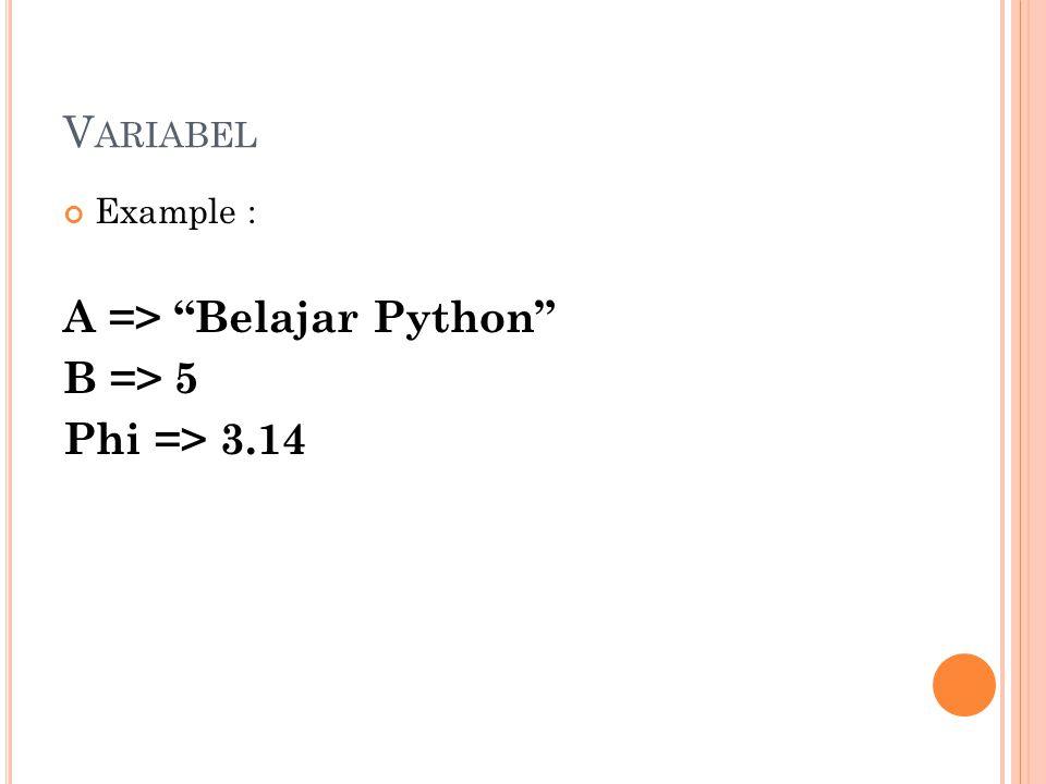 A => Belajar Python B => 5 Phi => 3.14