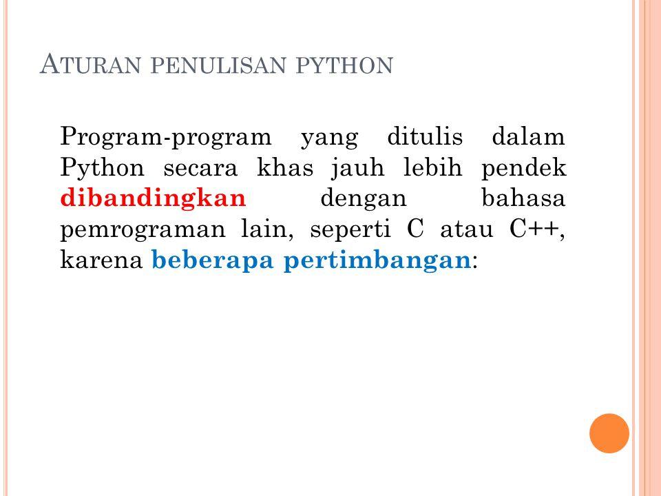 Aturan penulisan python