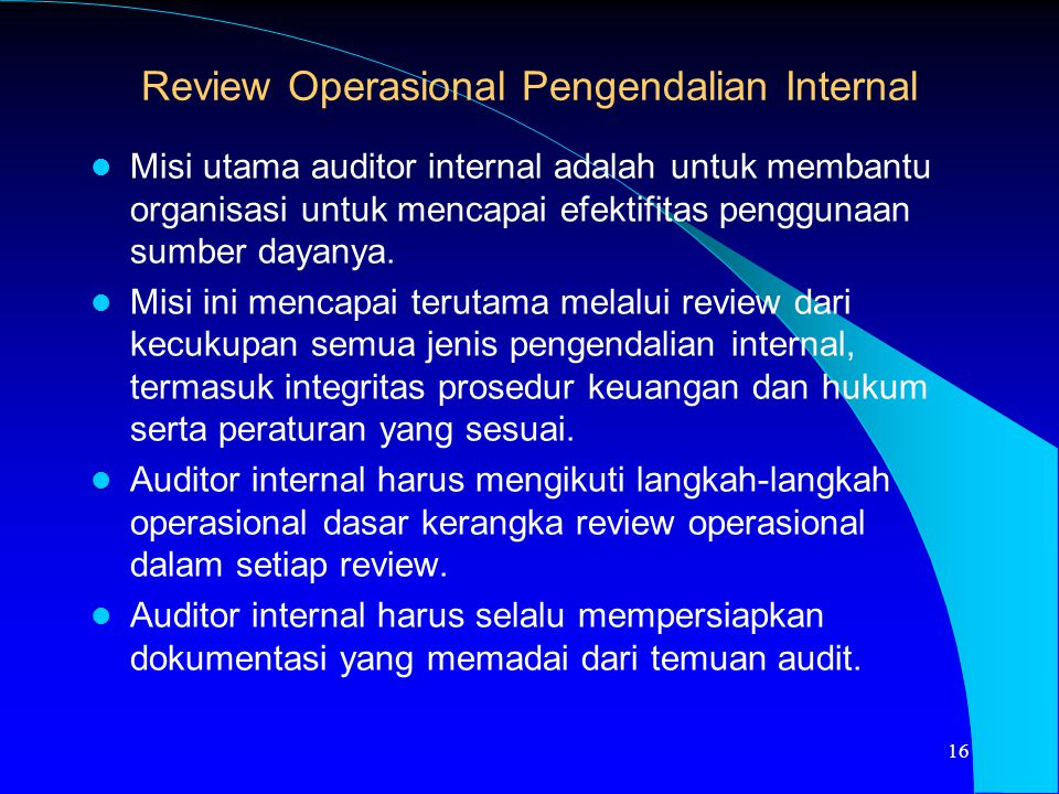 Review Operasional Pengendalian Internal