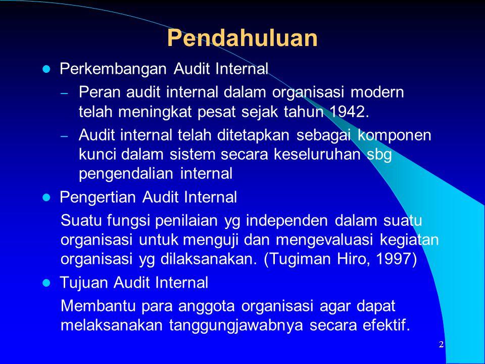 Pendahuluan Perkembangan Audit Internal
