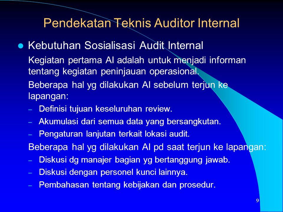 Pendekatan Teknis Auditor Internal
