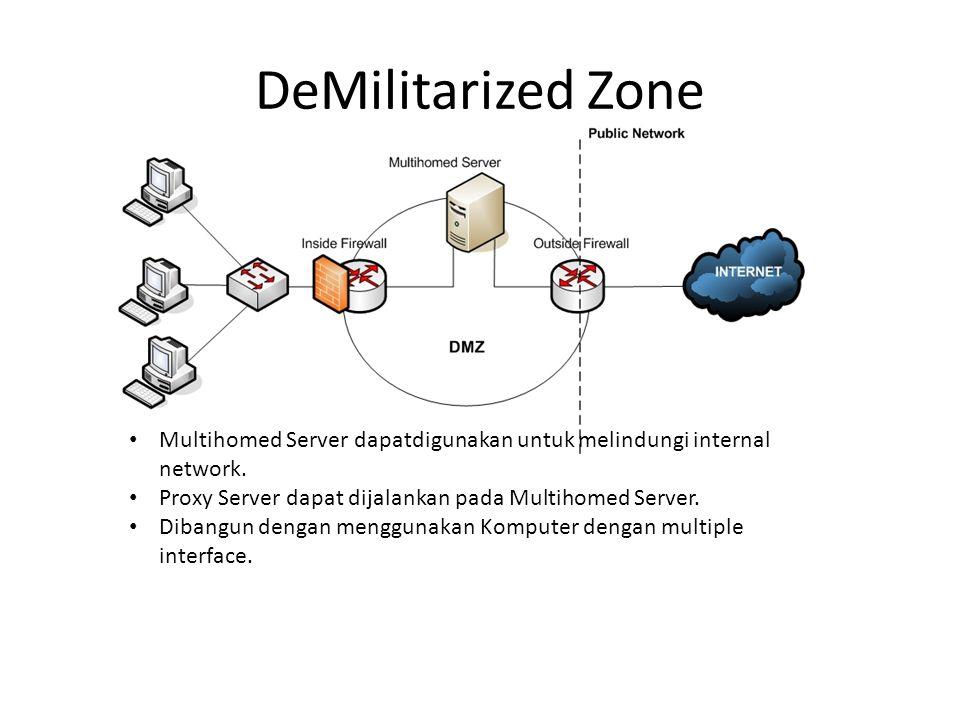 DeMilitarized Zone Multihomed Server dapatdigunakan untuk melindungi internal network. Proxy Server dapat dijalankan pada Multihomed Server.