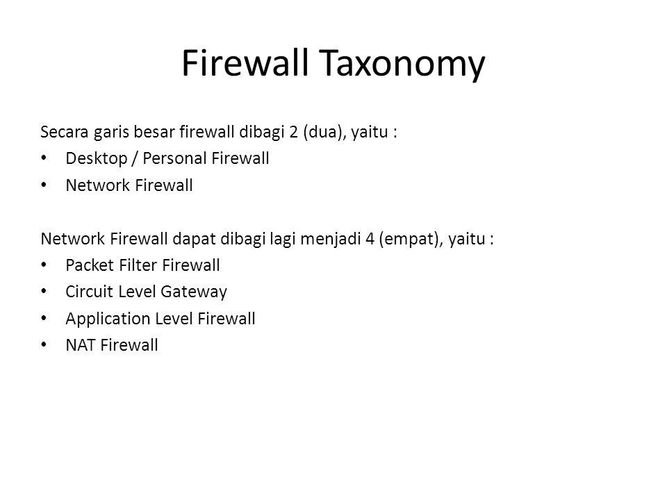 Firewall Taxonomy Secara garis besar firewall dibagi 2 (dua), yaitu :
