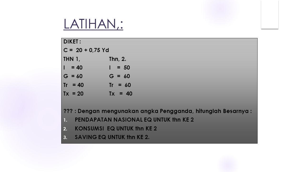 LATIHAN,: DIKET : C = 20 + 0,75 Yd THN 1, Thn, 2. I = 40 I = 50