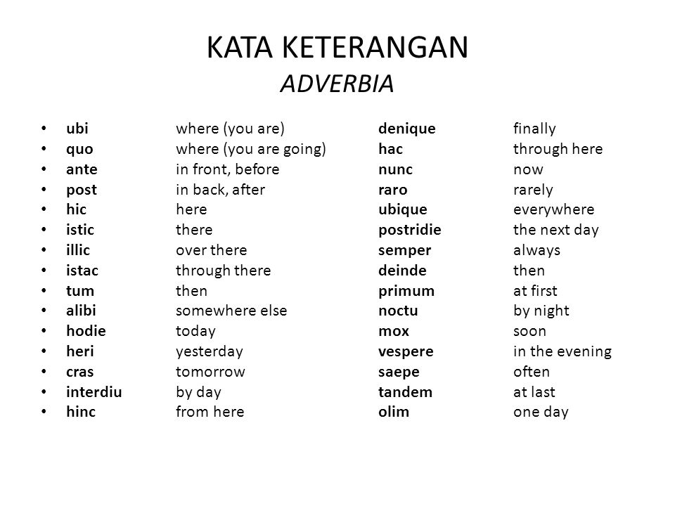 KATA KETERANGAN ADVERBIA