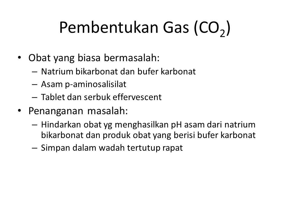 Pembentukan Gas (CO2) Obat yang biasa bermasalah: Penanganan masalah: