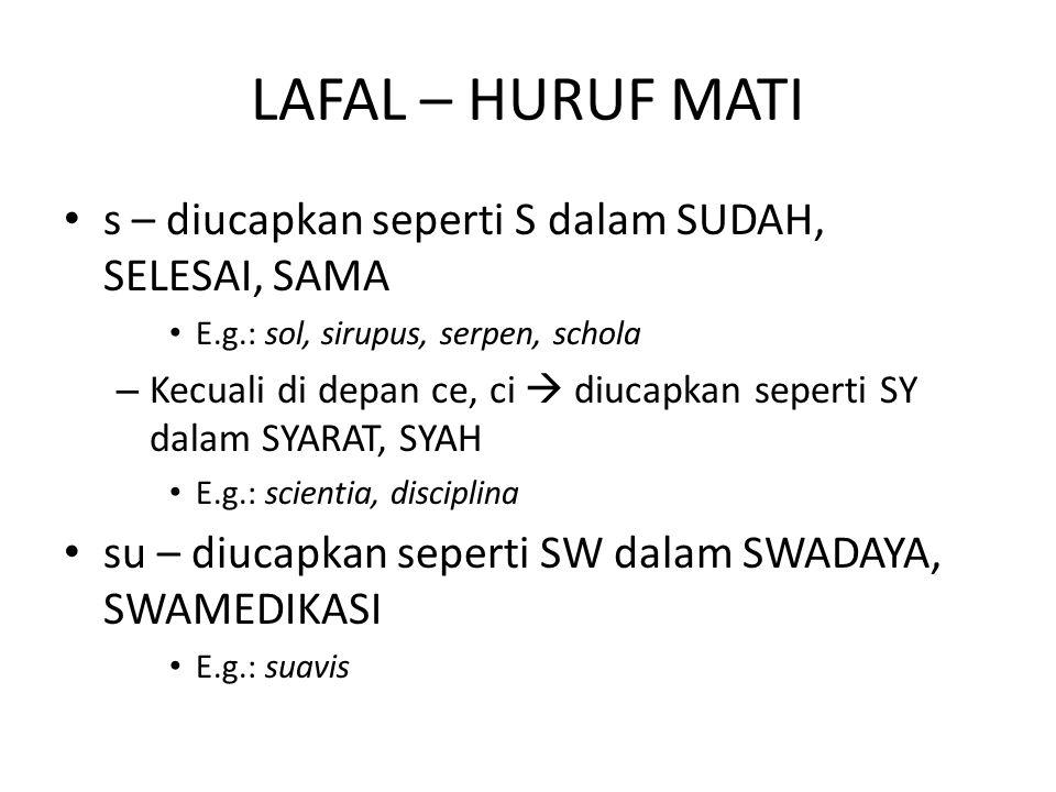 LAFAL – HURUF MATI s – diucapkan seperti S dalam SUDAH, SELESAI, SAMA