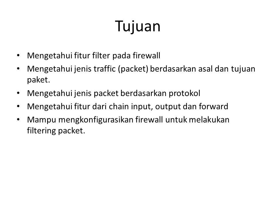 Tujuan Mengetahui fitur filter pada firewall