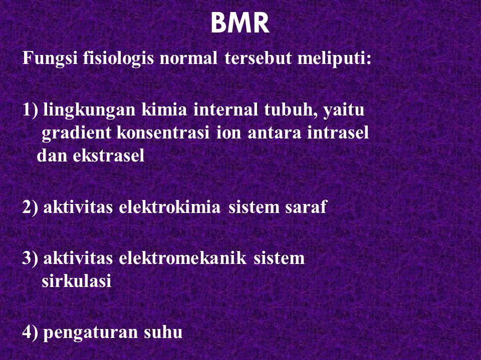 BMR Fungsi fisiologis normal tersebut meliputi: