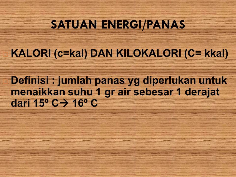 SATUAN ENERGI/PANAS KALORI (c=kal) DAN KILOKALORI (C= kkal)