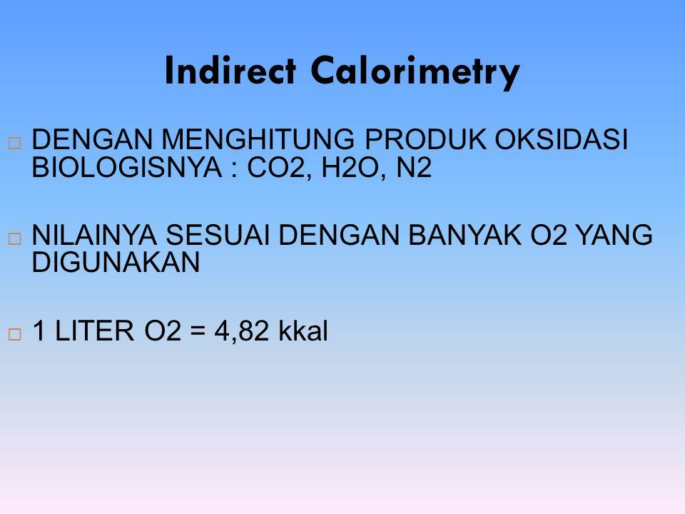 Indirect Calorimetry DENGAN MENGHITUNG PRODUK OKSIDASI BIOLOGISNYA : CO2, H2O, N2. NILAINYA SESUAI DENGAN BANYAK O2 YANG DIGUNAKAN.
