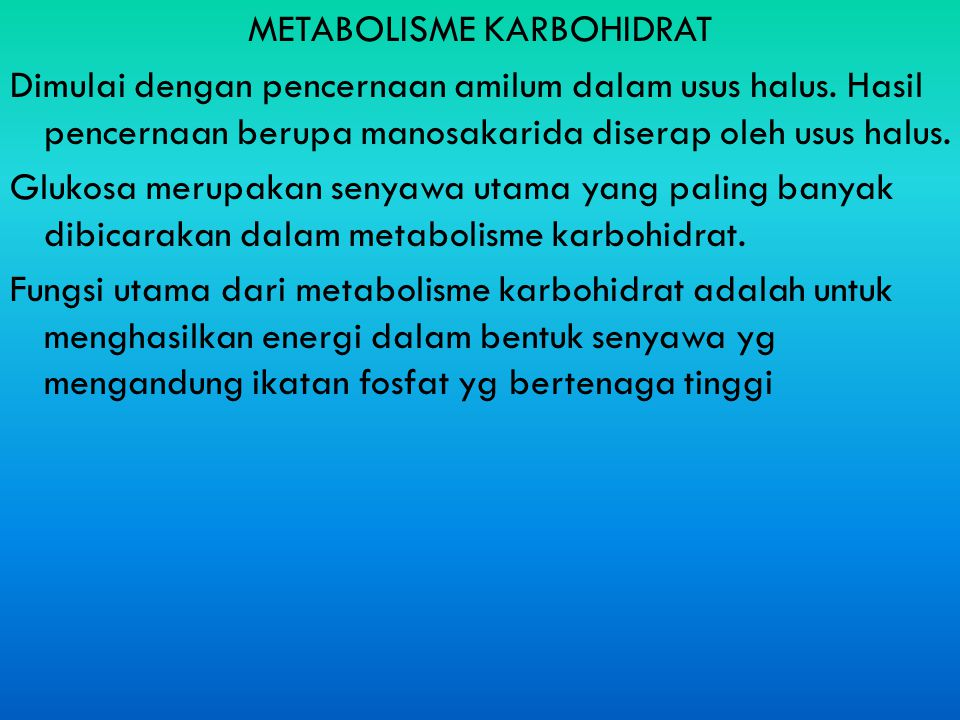 METABOLISME KARBOHIDRAT Dimulai dengan pencernaan amilum dalam usus halus.