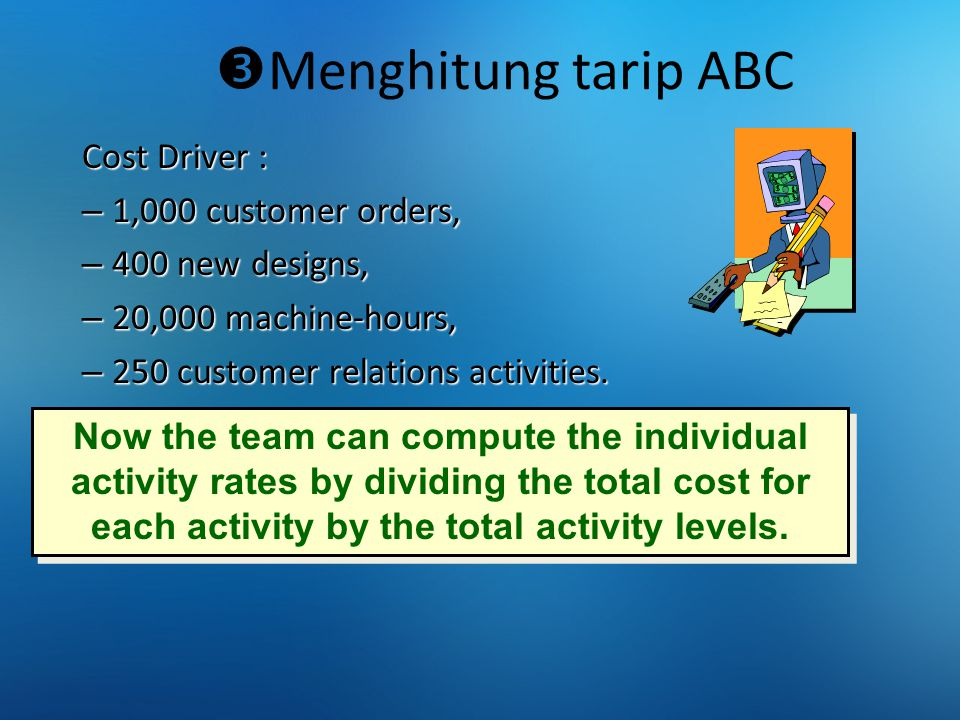 Menghitung tarip ABC Cost Driver : 1,000 customer orders,