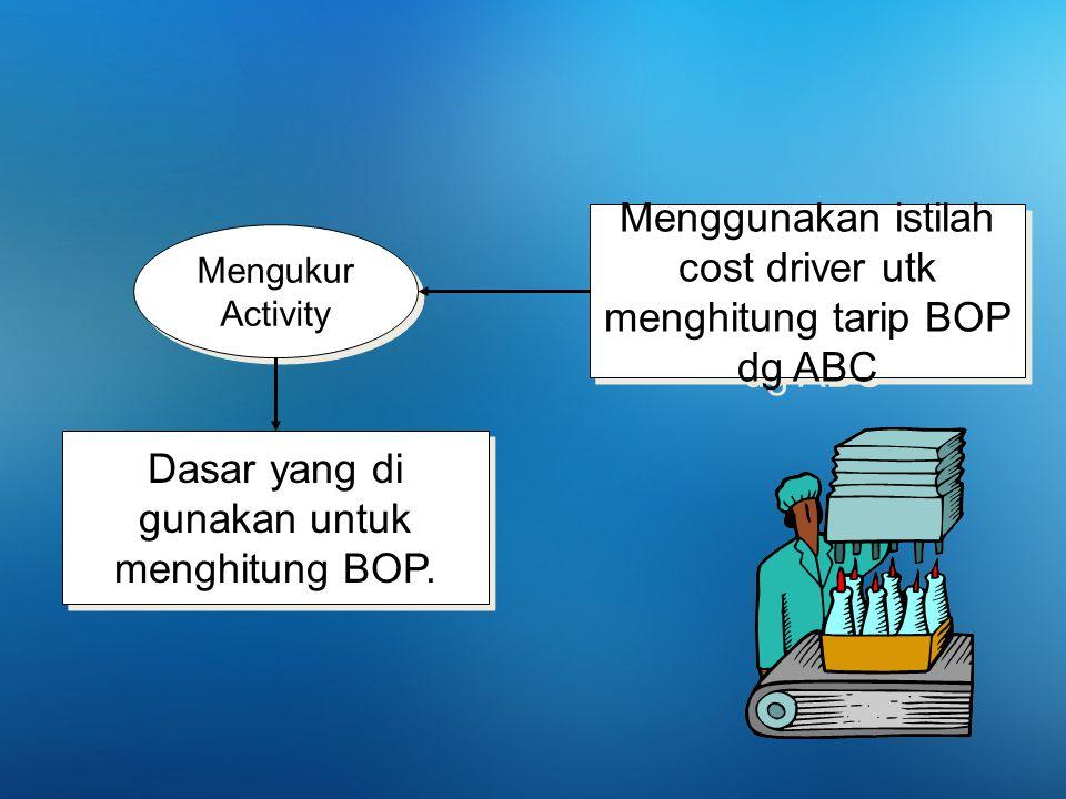Menggunakan istilah cost driver utk menghitung tarip BOP dg ABC