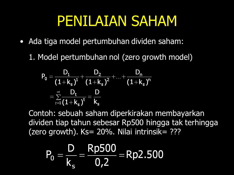 PENILAIAN SAHAM Ada tiga model pertumbuhan dividen saham: