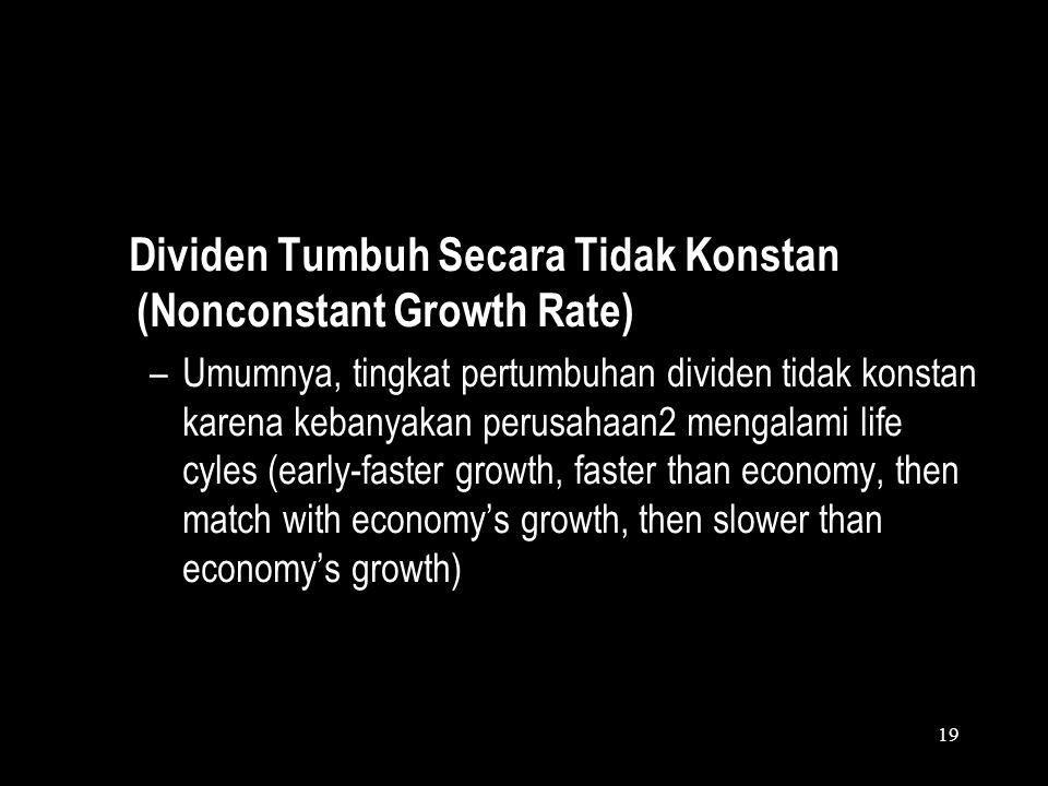 Dividen Tumbuh Secara Tidak Konstan (Nonconstant Growth Rate)