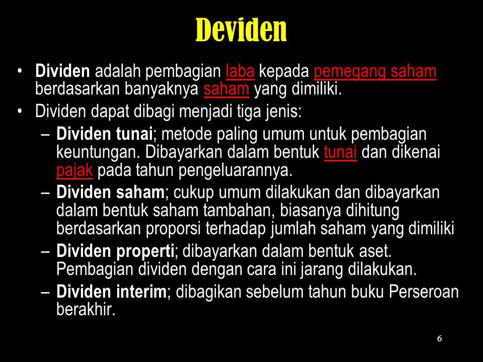 Deviden Dividen adalah pembagian laba kepada pemegang saham berdasarkan banyaknya saham yang dimiliki.