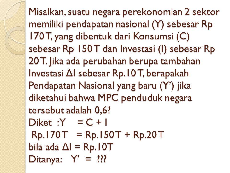 Misalkan, suatu negara perekonomian 2 sektor memiliki pendapatan nasional (Y) sebesar Rp 170 T, yang dibentuk dari Konsumsi (C) sebesar Rp 150 T dan Investasi (I) sebesar Rp 20 T.