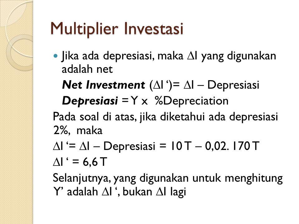 Multiplier Investasi Jika ada depresiasi, maka I yang digunakan adalah net. Net Investment (I ')= I – Depresiasi.
