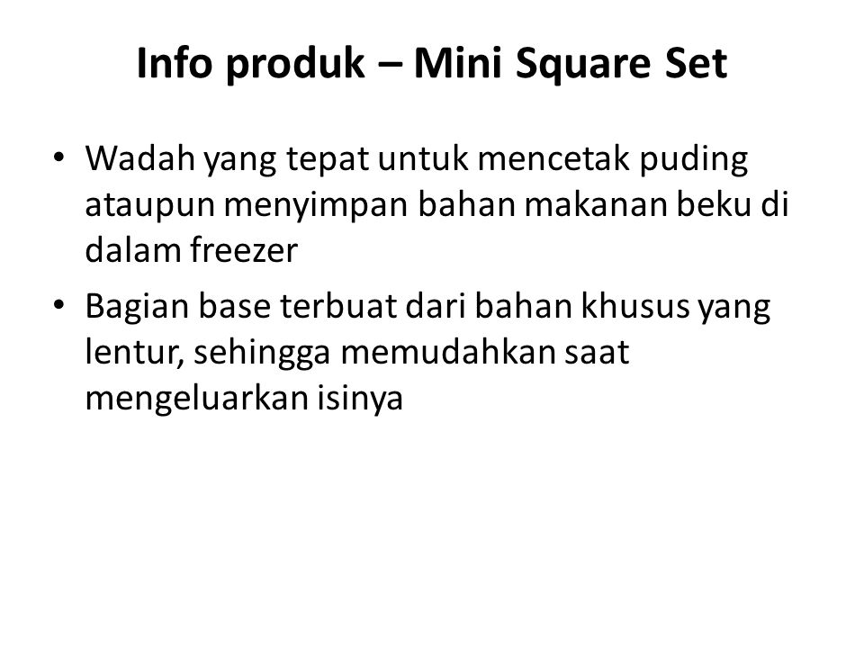 Info produk – Mini Square Set