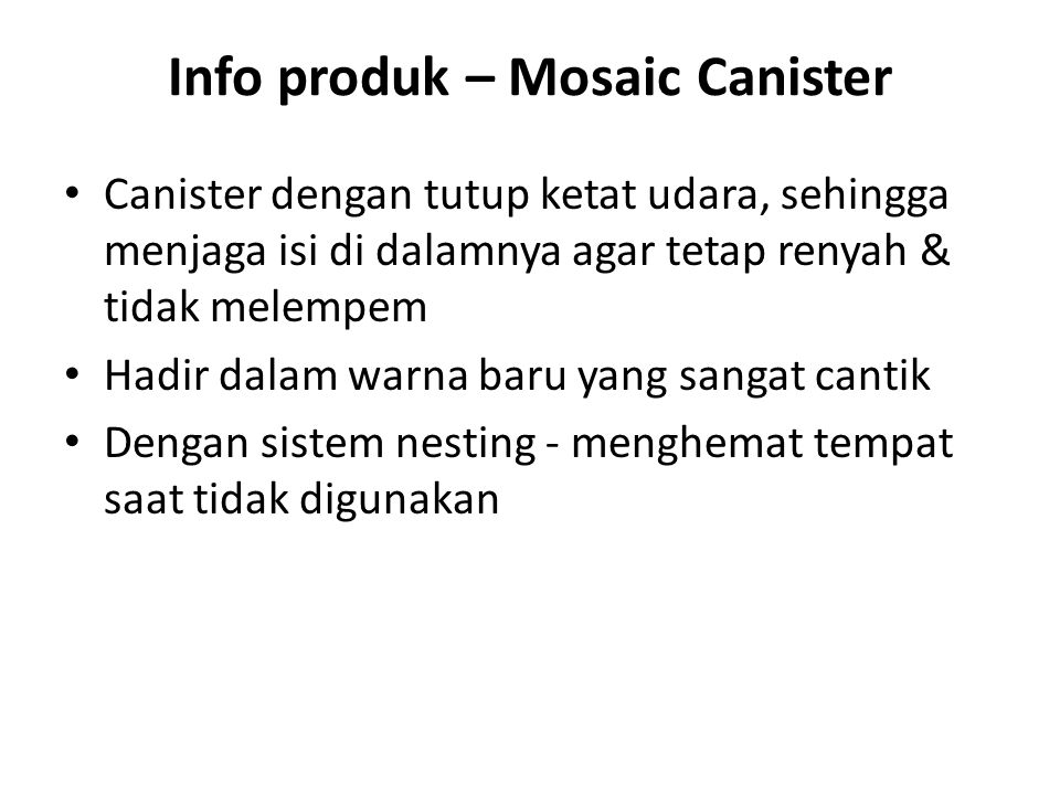 Info produk – Mosaic Canister