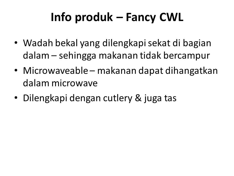 Info produk – Fancy CWL Wadah bekal yang dilengkapi sekat di bagian dalam – sehingga makanan tidak bercampur.
