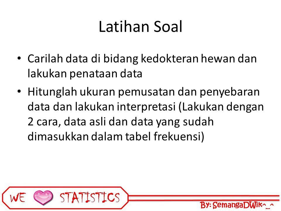 Latihan Soal Carilah data di bidang kedokteran hewan dan lakukan penataan data.
