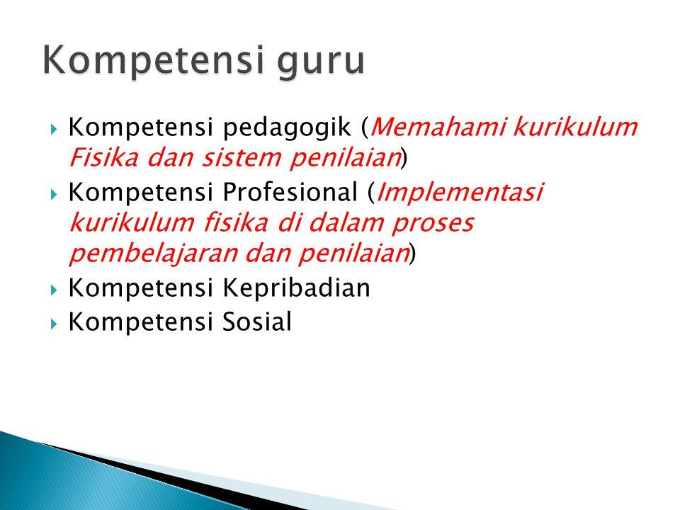 Kompetensi guru Kompetensi pedagogik (Memahami kurikulum Fisika dan sistem penilaian)