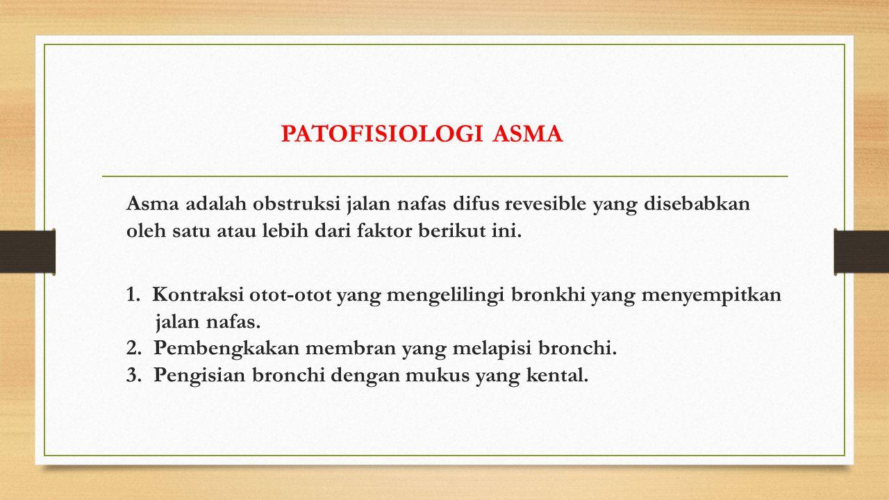 PATOFISIOLOGI ASMA Asma adalah obstruksi jalan nafas difus revesible yang disebabkan oleh satu atau lebih dari faktor berikut ini.