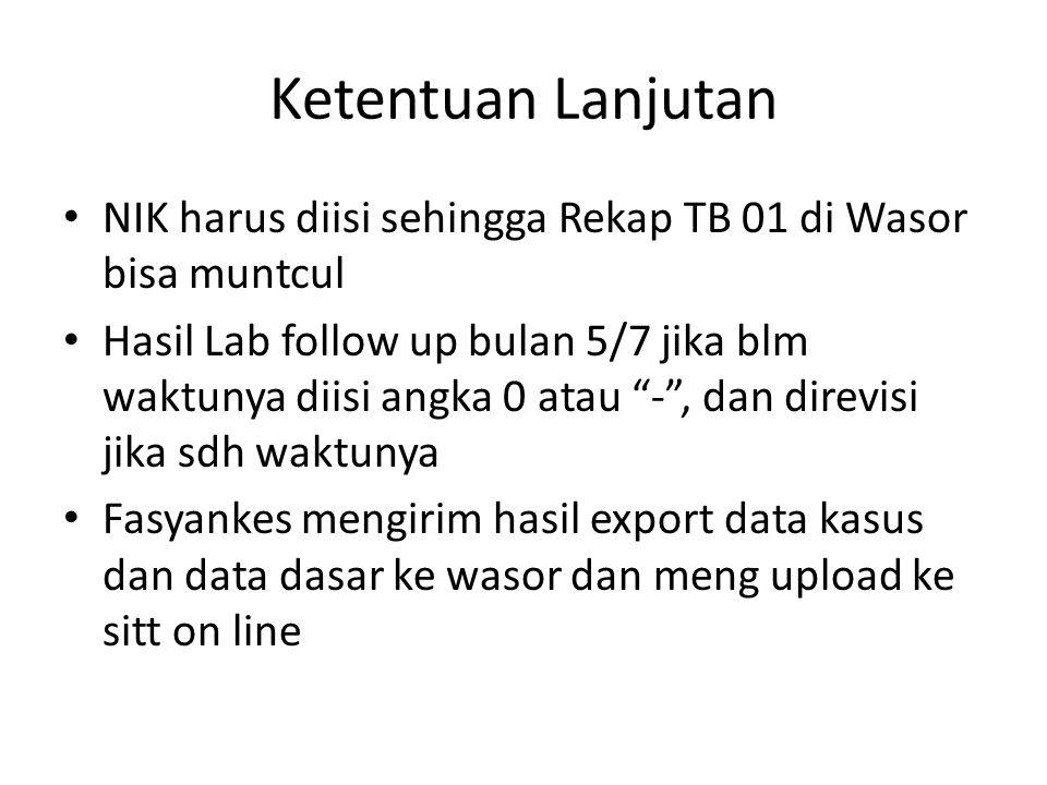 Ketentuan Lanjutan NIK harus diisi sehingga Rekap TB 01 di Wasor bisa muntcul.