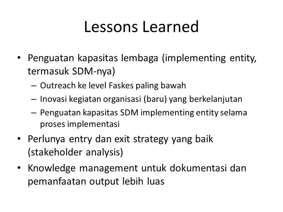 Lessons Learned Penguatan kapasitas lembaga (implementing entity, termasuk SDM-nya) Outreach ke level Faskes paling bawah.