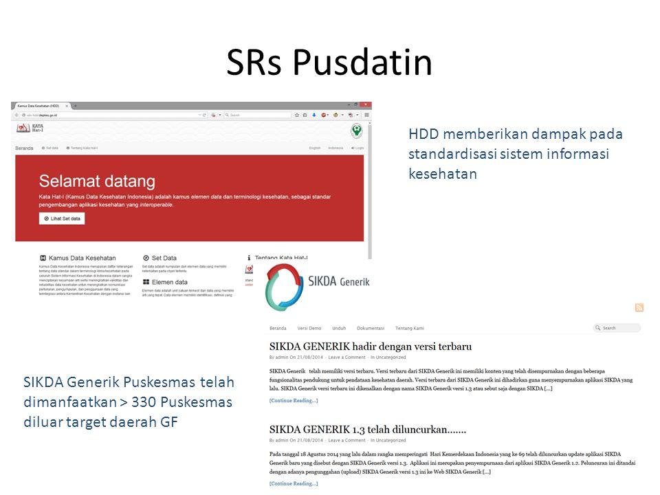 SRs Pusdatin HDD memberikan dampak pada standardisasi sistem informasi kesehatan.