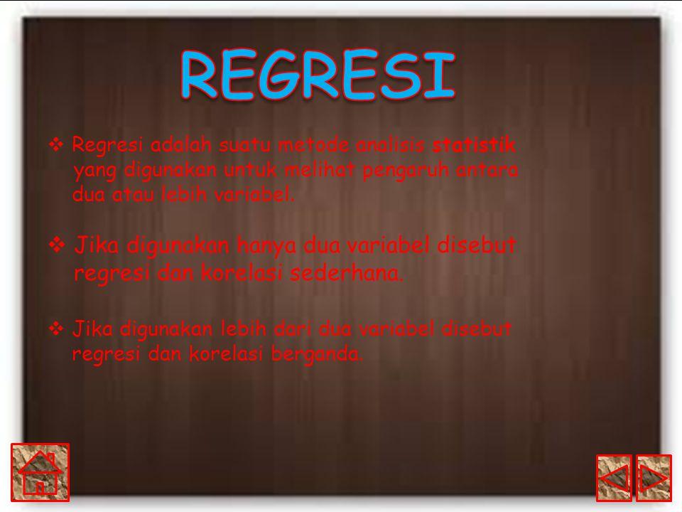 REGRESI Regresi adalah suatu metode analisis statistik yang digunakan untuk melihat pengaruh antara dua atau lebih variabel.