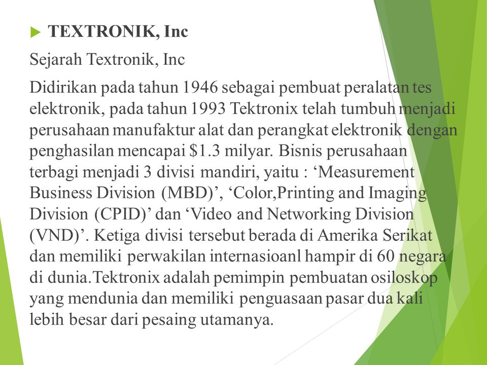 TEXTRONIK, Inc Sejarah Textronik, Inc.