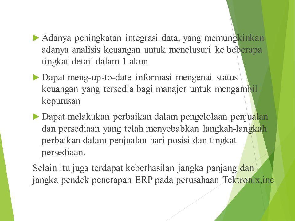 Adanya peningkatan integrasi data, yang memungkinkan adanya analisis keuangan untuk menelusuri ke beberapa tingkat detail dalam 1 akun