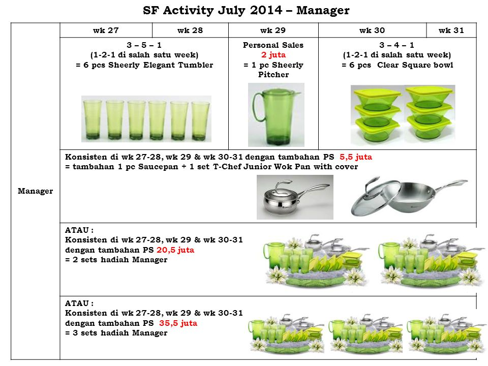 SF Activity July 2014 – Manager = 6 pcs Sheerly Elegant Tumbler
