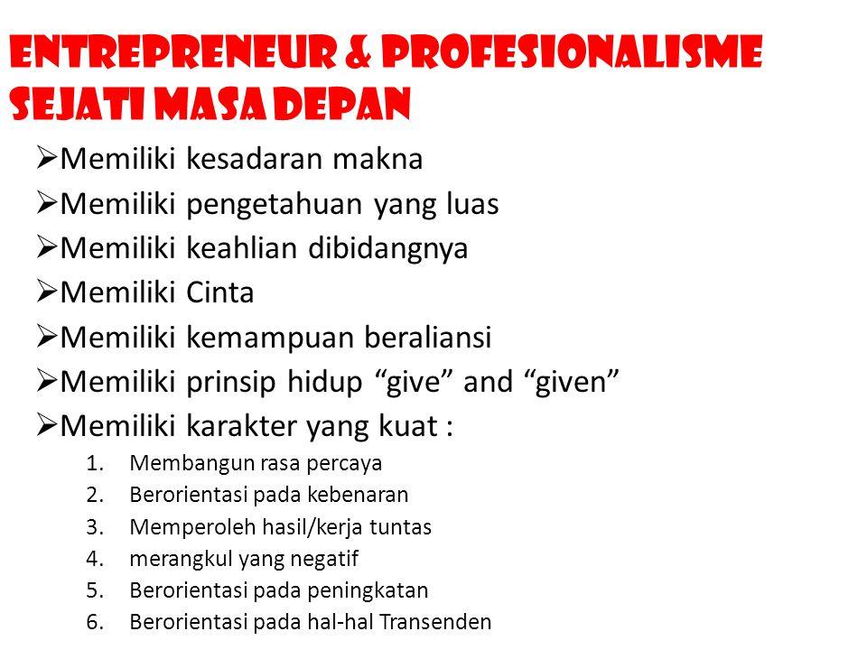 Entrepreneur & profesionalisme Sejati Masa Depan