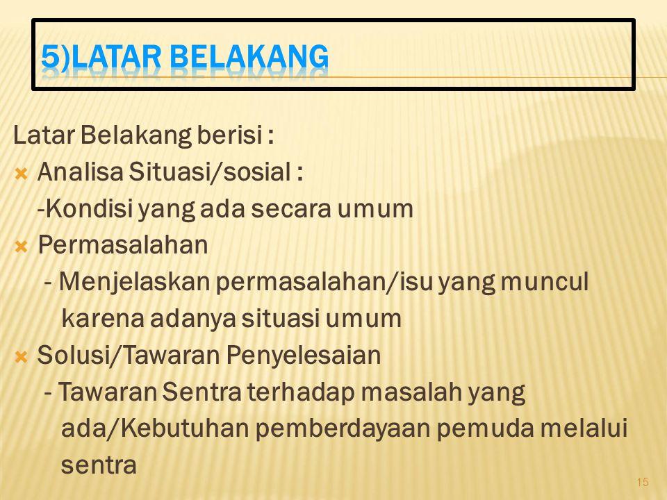 5)LATAR BELAKANG Latar Belakang berisi : Analisa Situasi/sosial :