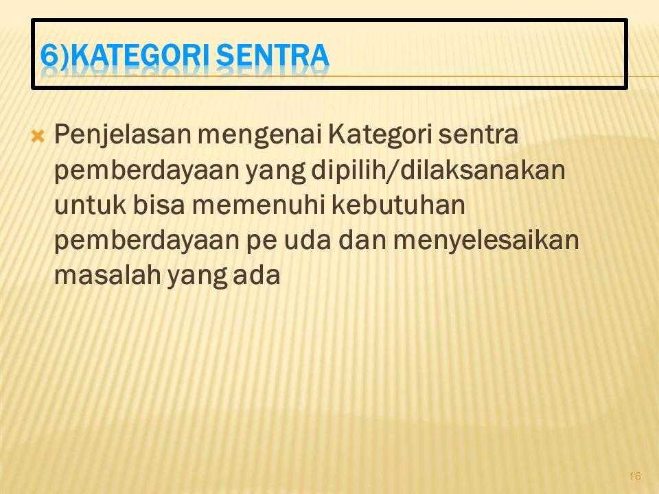 6)Kategori sentra