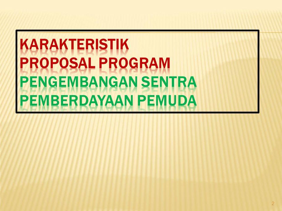 Karakteristik Proposal Program Pengembangan Sentra Pemberdayaan Pemuda